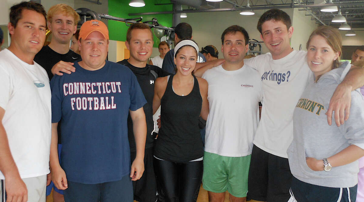 Cushman-Wakefield's push-up team Saturday at the Fitness Factory for the Push-Up-Athon raising money to send children to the Hole in the Wall Gang Camp.