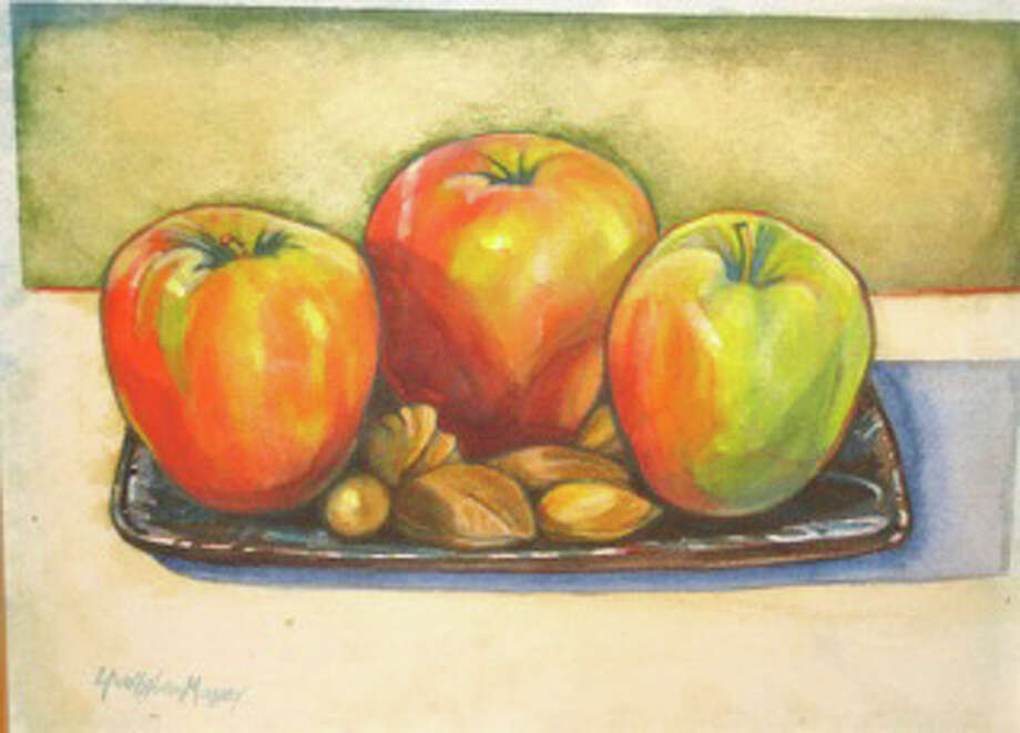 This piece by Lynn Stephens Massey will be on display at Brendan's 101 with other works of her apple art. Photo: Contributed Photo