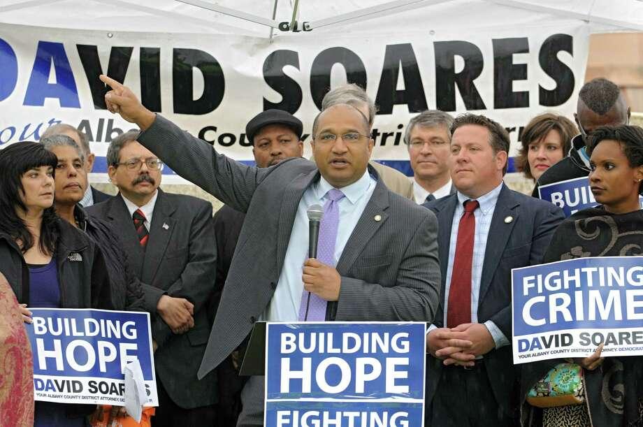 Incumbent District Attorney David Soares announces his plans to seek a third 4-year term Monday, June 4, 2012 in Academy Park in Albany, N.Y. (Lori Van Buren / Times Union) Photo: Lori Van Buren
