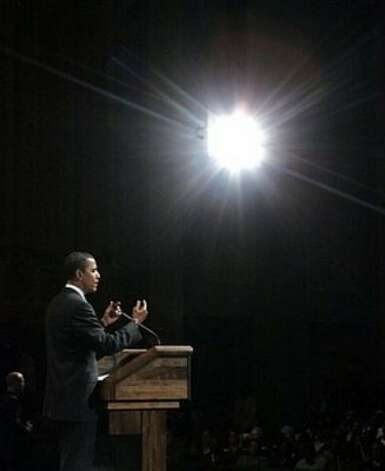 Democratic presidential hopeful Sen. Barack Obama, D-Ill., speaks at a campaign town hall meeting Thursday, Feb. 28, 2008, in Beaumont, Texas. (AP Photo/Rick Bowmer) (AP)
