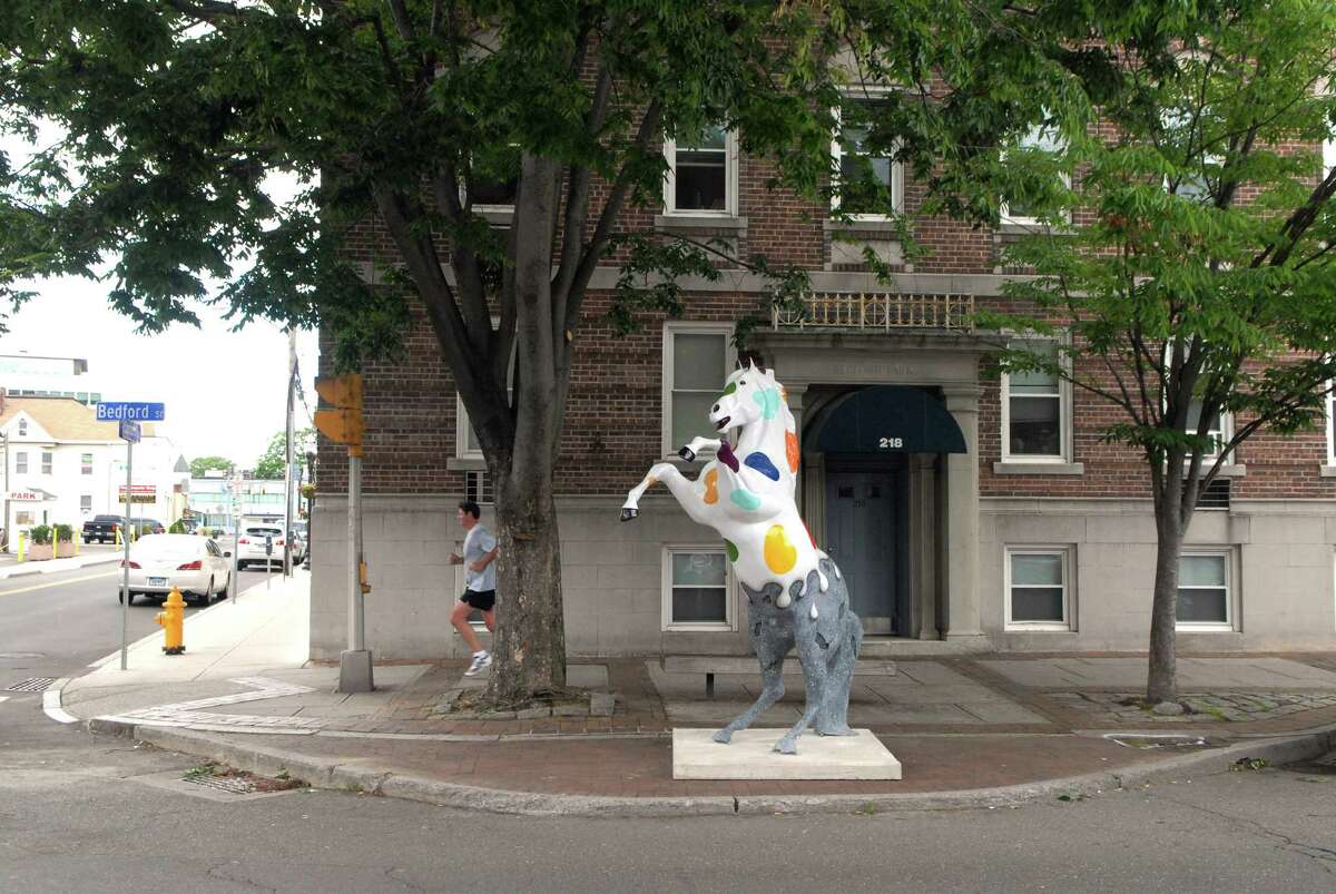 The first group of DSSD horse sculptures have been placed in Downtown Stamford, Conn. on Monday June 4, 2012, the rest will be placed around town during the week.