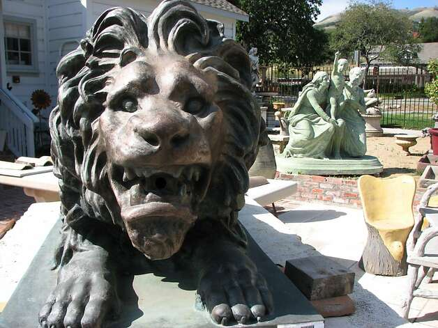 A French lion guards the entrance to Jan de Luz, a wonderland of centuries old statues and fireplaces in Carmel Valley Village. Photo: Meredith May