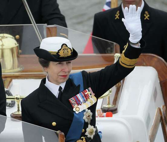 LONDON, ENGLAND - JUNE 03:  Princess Anne, Princess Royal waves as she joins in the Diamond Jubilee Thames River Pageant on June 3, 2012 in London, England. For only the second time in its history the UK celebrates the Diamond Jubilee of a monarch. Her Majesty Queen Elizabeth II celebrates the 60th anniversary of her ascension to the throne. Thousands of well-wishers from around the world have flocked to London to witness the spectacle of the weekend's celebrations. The Queen along with all members of the royal family will participate in a River Pageant with a flotilla of a 1,000 boats accompanying them down the Thames. Photo: Chris Jackson, Getty Images / 2012 Getty Images