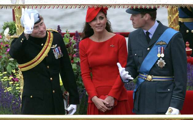 LONDON, ENGLAND - JUNE 03:  Prince Harry, Catherine, Duchess of Cambridge and Prince William, Duke of Cambridge wave from the royal barge 'Spirit of Chartwell' during the Diamond Jubilee Thames River Pageant and on June 3, 2012 in London, England. For only the second time in its history the UK celebrates the Diamond Jubilee of a monarch. Her Majesty Queen Elizabeth II celebrates the 60th anniversary of her ascension to the throne. Thousands of well-wishers from around the world have flocked to London to witness the spectacle of the weekend's celebrations. The Queen along with all members of the royal family will participate in a River Pageant with a flotilla of a 1,000 boats accompanying them down The Thames, the star studded free concert at Buckingham Palace, and a carriage procession and a service of thanksgiving at St Paul's Cathedral. Photo: Matt Cardy, Getty Images / 2012 Getty Images