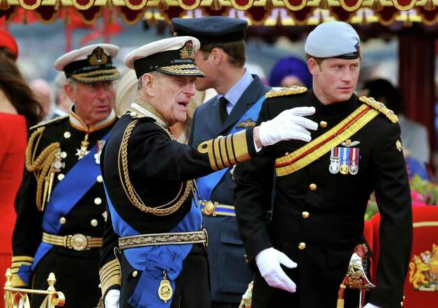 LONDON, ENGLAND - JUNE 03: (L-R) Prince Charles, Prince of Wales, Prince Philip, Duke of Edinburgh, Prince William, Duke of Cambridge and Prince Harry onboard the Spirit of Chartwell during the Diamond Jubilee Pageant on the River Thames during the Diamond Jubilee Thames River Pageant on June 3, 2012 in London, England. For only the second time in its history the UK celebrates the Diamond Jubilee of a monarch. Her Majesty Queen Elizabeth II celebrates the 60th anniversary of her ascension to the throne. Thousands of well-wishers from around the world have flocked to London to witness the spectacle of the weekend's celebrations. The Queen along with all members of the royal family will participate in a River Pageant with a flotilla of a 1,000 boats accompanying them down The Thames, the star studded free concert at Buckingham Palace, and a carriage procession and a service of thanksgiving at St Paul's Cathedral. Photo: WPA Pool, Getty Images / 2012 Getty Images