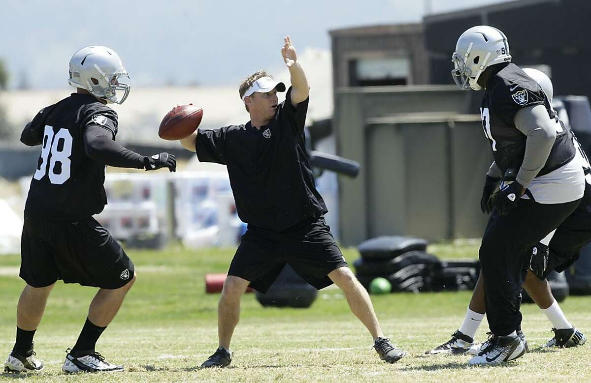 Oakland Raiders defensive coordinator Jason Tarver, center, practices with defensive players at an NFL football training facility in Alameda, Calif., Saturday, May 12, 2012. (AP Photo/Jeff Chiu)