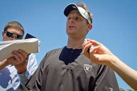 Raider defensive coordinator Jason Tarver talks to reporters after a rookie minicamp at the Raider training facility in Alameda, Calif.,  on Saturday, May 12th, 2012.