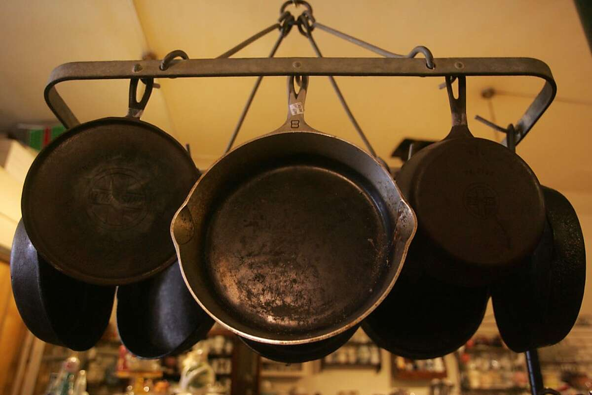 Cast iron cookware is a popular item at Cookin', a second-hand cooking shop on Divisadero.