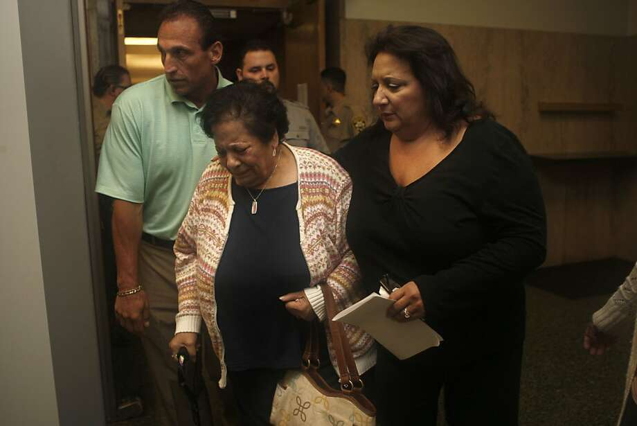Anthony Bologna's mother Lena Bologna (middle) and his sister (right) at the Hall of Justice in San Francisco, Calif., as they leave the courtroom after a victim-impact hearing for Edwin Ramos on Monday, June 4, 2012.  Edwin Ramos, 25, was convicted of the mistaken-identity murders of Lena's San Francisco son and  two grandsons. Photo: Liz Hafalia, The Chronicle