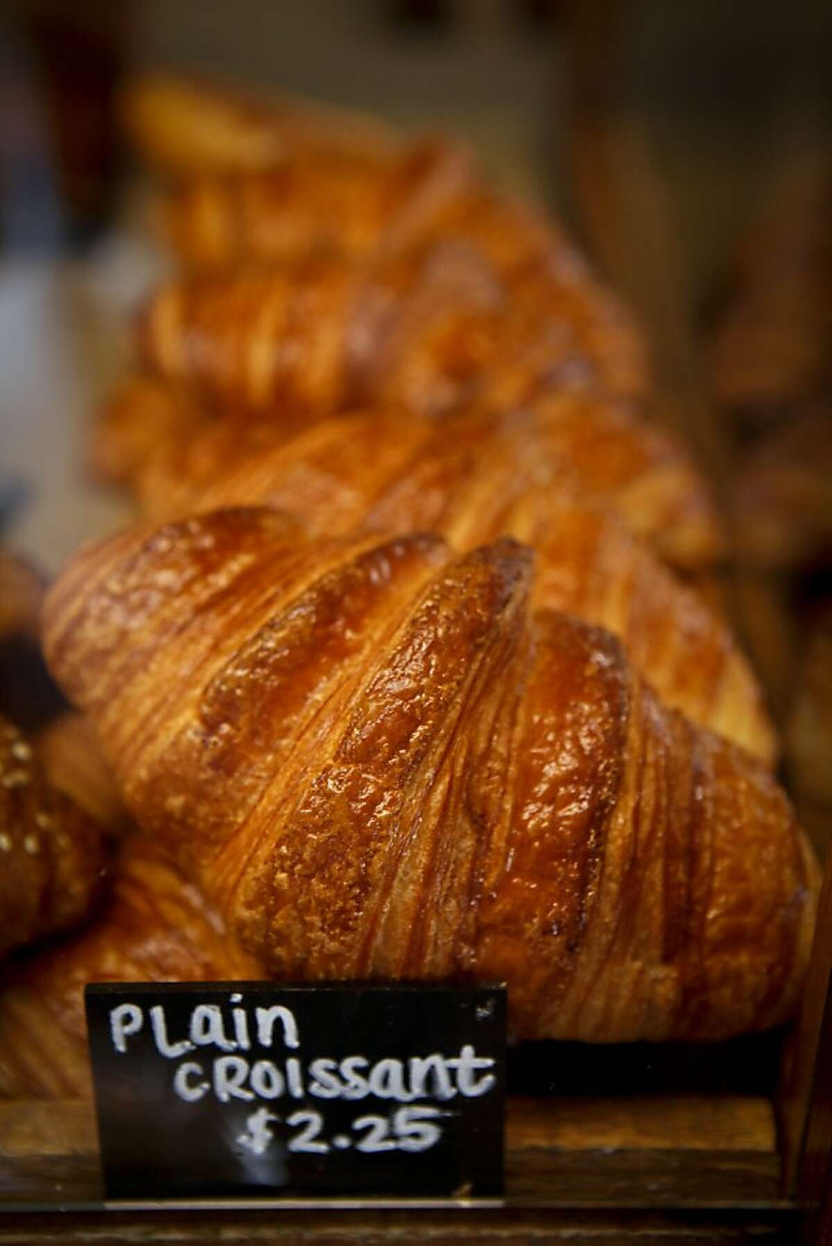 One of Valerie Orsoni's favorite things at La Boulange in Noe Valley is the plain croissant which is seen on Tuesday, Sep. 13, 2011 in San Francisco, Calif.