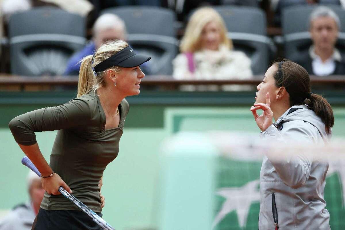 Maria Sharapova, left, and chair umpire Julie Kjendlie didn't see eye-to-eye during Sharapova's win over No. 44 Klara Zakopalova on Monday at the French Open.
