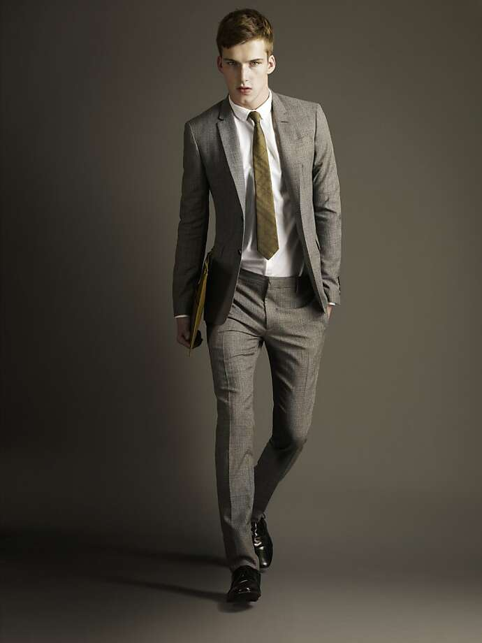 "Burberry's spring 2012 collection offers three tailoring ""fit"" options, including the gray London style. Photo: Burberry"