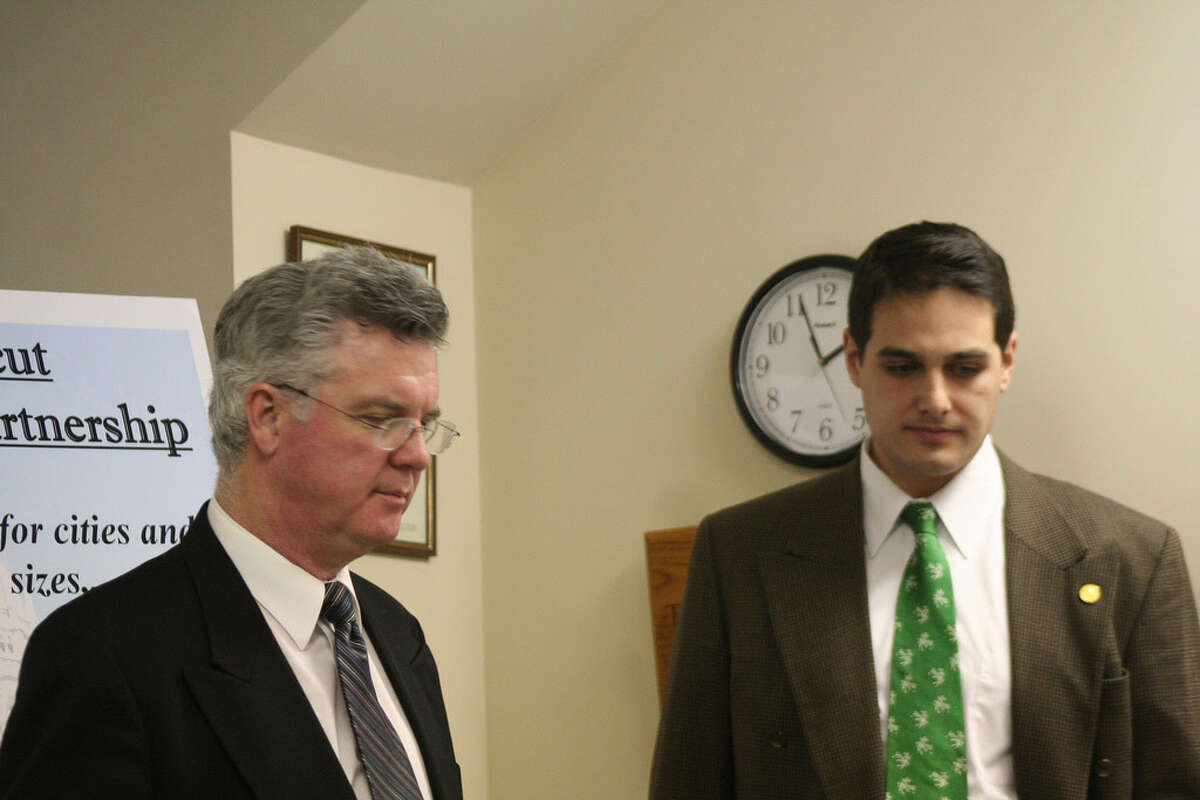 State Senate Majority Leader, Democrat Chris Donovan and his Assistant Josh Nassi were in Kent in Dec. 2007 to talk about health care proposal for municipalities.