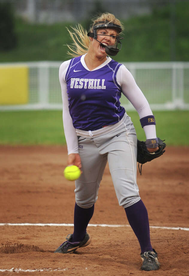 Westhill senior pitcher Allison Macari delivers to the plate during the Vikings' Class LL softball semifinal game with Amity at DeLuca Field in Stratford on Monday, June 4, 2012. Photo: Brian A. Pounds / Connecticut Post