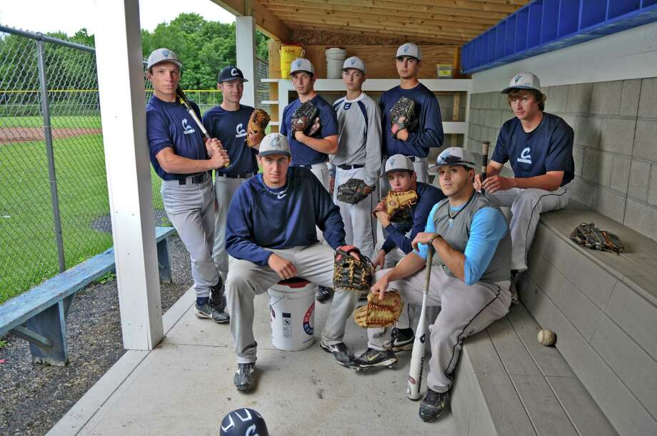 Columbia High School baseball team seniors, top row from left to right, John Stanley, Ian Castle, Rip Van Winkle, Tyler Hart, Connor Ramon and Dylan McNerney, and bottom row left to right, Tim Gaule, Matthew Nero and Jonas Godell, prepared with their teammates for their state tournament game, on Monday June 4, 2012 in East Greenbush, NY.  (Philip Kamrass / Times Union ) Photo: Philip Kamrass / 00017937A