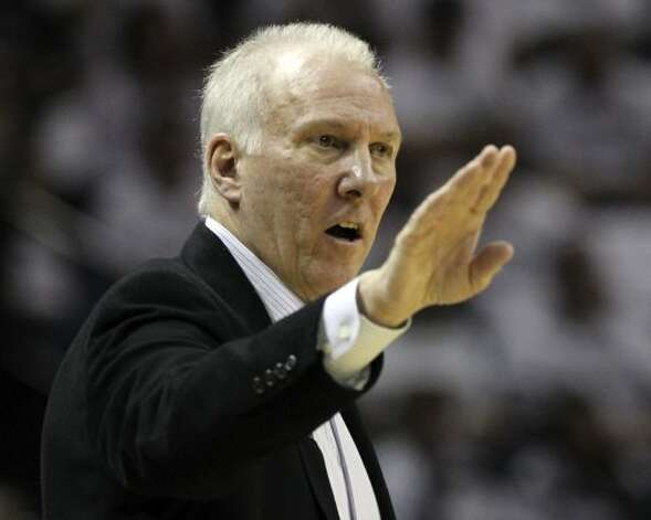 San Antonio Spurs coach Gregg Popovich gestures during the first half of game five of the NBA Western Conference Finals in San Antonio, Texas on Monday, June 4, 2012. (Kin Man Hui / San Antonio Express-News)