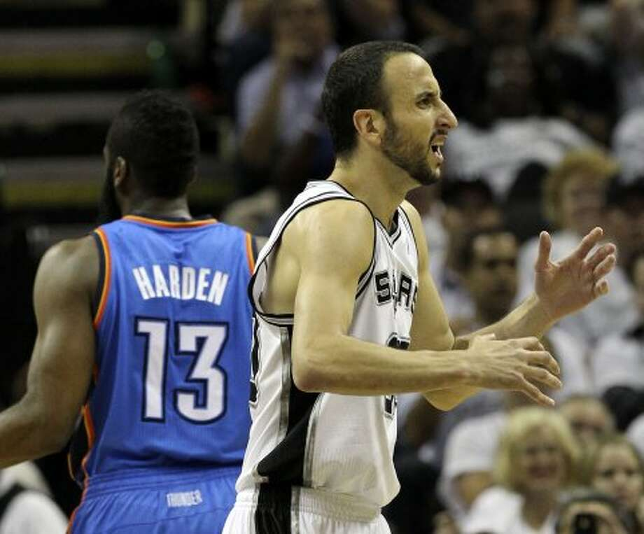 San Antonio Spurs' Manu Ginobili (20) reacts after being called for a foul during the first half of game five of the NBA Western Conference Finals in San Antonio, Texas on Monday, June 4, 2012. (Kin Man Hui / San Antonio Express-News)