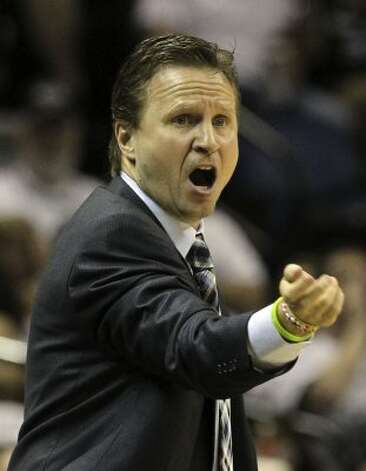 Oklahoma City Thunder head coach Scott Brooks gestures during the first half of game five of the NBA Western Conference Finals in San Antonio, Texas on Monday, June 4, 2012. (Kin Man Hui / San Antonio Express-News)