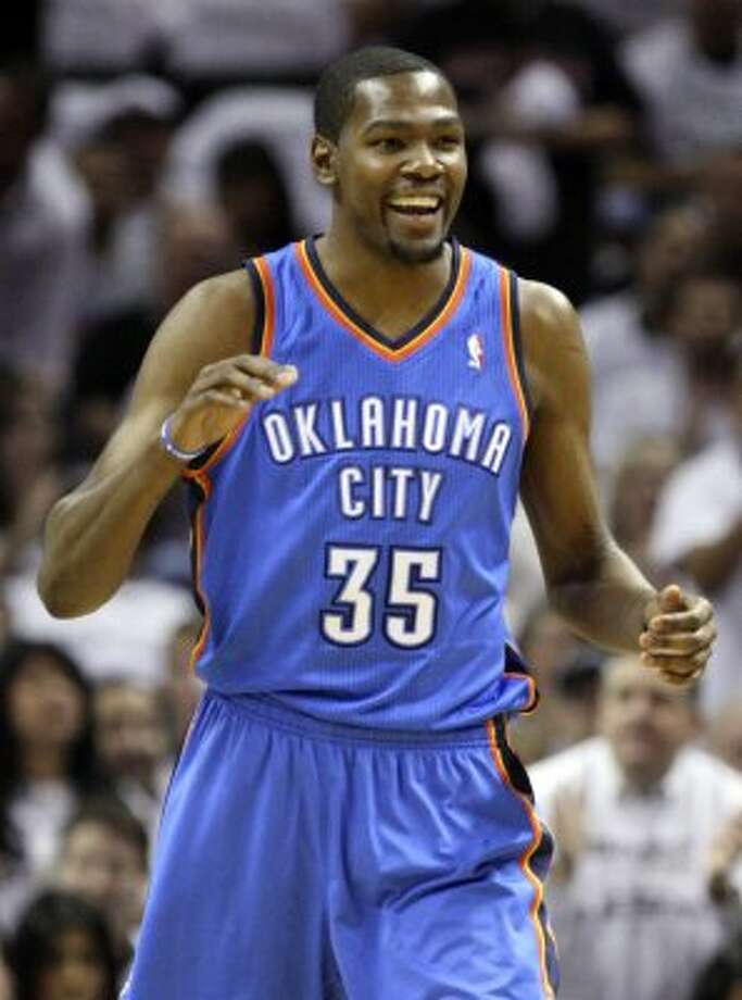 Oklahoma City Thunder's Kevin Durant (35) smiles during the first half of game five of the NBA Western Conference Finals in San Antonio, Texas on Monday, June 4, 2012. (Jerry Lara / San Antonio Express-News)