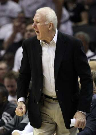 San Antonio Spurs coach Gregg Popovich yells during the first half of game five of the NBA Western Conference Finals in San Antonio, Texas on Monday, June 4, 2012. (Jerry Lara / San Antonio Express-News)