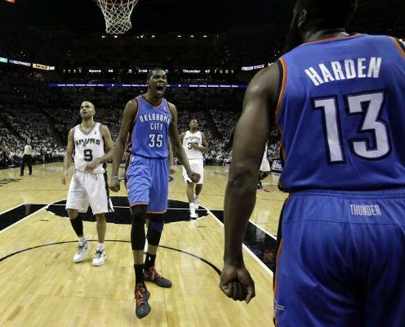 Oklahoma City Thunder's Kevin Durant (35) reacts after teammate Oklahoma City Thunder's James Harden (13) was fouled during the first half of game five of the NBA Western Conference Finals in San Antonio, Texas on Monday, June 4, 2012. (San Antonio Express-News)