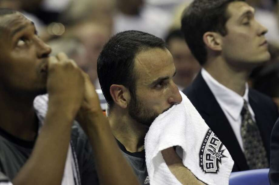 San Antonio Spurs' Manu Ginobili (20) sits on the bench during the second half of game five of the NBA Western Conference Finals in San Antonio, Texas on Monday, June 4, 2012. (San Antonio Express-News)