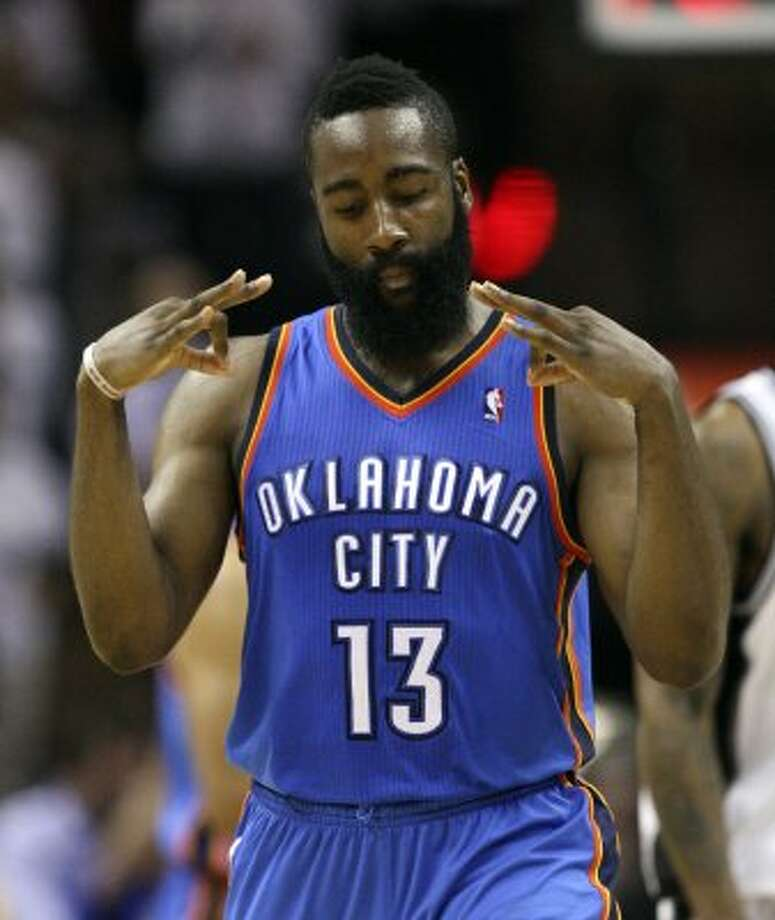 Oklahoma City Thunder's James Harden (13) motions after hitting a three point basket giving the Thunder 108 points during the second half of game five of the NBA Western Conference Finals in San Antonio, Texas on Monday, June 4, 2012.  The Thunder won 108-103. (Jerry Lara / San Antonio Express-News)