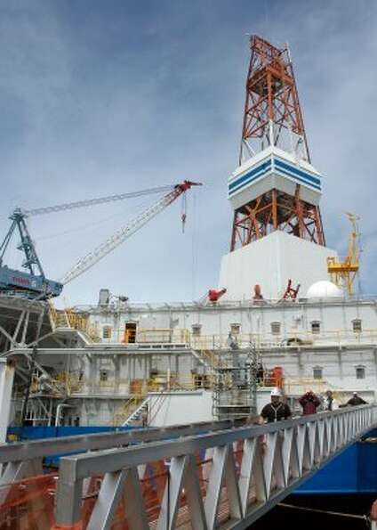 The Kulluk conical drilling rig is docked in the Vigor shipyard in Seattle, where it has undergone r