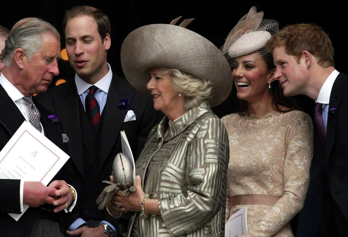 LONDON, ENGLAND - JUNE 05: (L-R) Prince Charles, Prince of Wales, Prince William, Duke of Cambridge, Camilla, Duchess of Cornwall, Catherine, Duchess of Cambridge and Prince Harry leave a Service Of Thanksgiving at St Paul's Cathedral on June 5, 2012 in London, England. For only the second time in its history the UK celebrates the Diamond Jubilee of a monarch. Her Majesty Queen Elizabeth II celebrates the 60th anniversary of her ascension to the throne. Thousands of wellwishers from around the world have flocked to London to witness the spectacle of the weekend's celebrations.