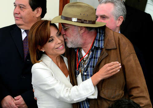 Mexican poet Javier Sicilia (R) kisses Mexican presidential candidate for the National Action Party (PAN), Josefina Vazquez Mota, during an event he presides in which the four presidential candidates, each at a time, meet with the Movement for Peace with Justice and Dignity, in Mexico City on May 28, 2012. Mexico will hold presidential elections on July 1, 2012.  AFP PHOTO/Alfredo ESTRELLA        (Photo credit should read ALFREDO ESTRELLA/AFP/GettyImages) Photo: Getty Images