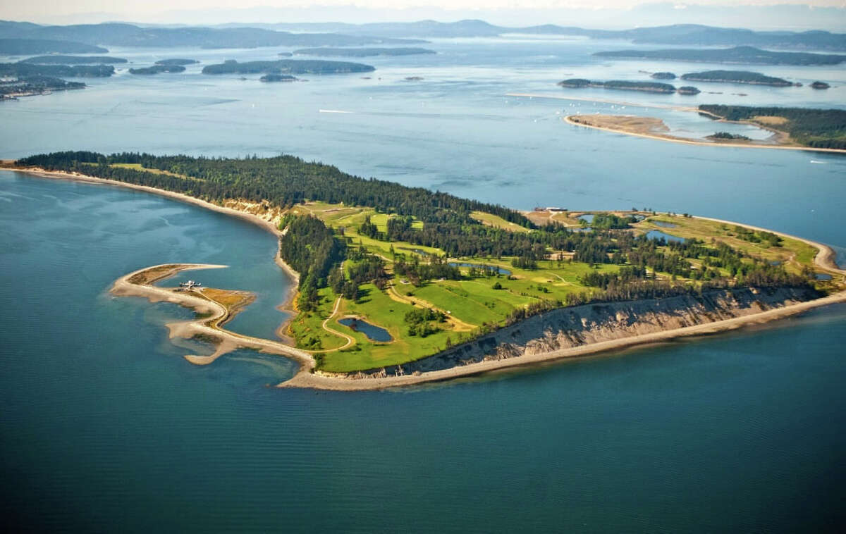 A view of James Island, a 780-acre private island in British Columbia's Gulf Islands. Seattle tech magnate Craig McCaw has listed it for sale for $75 million Canadian (about the same in U.S. dollars).