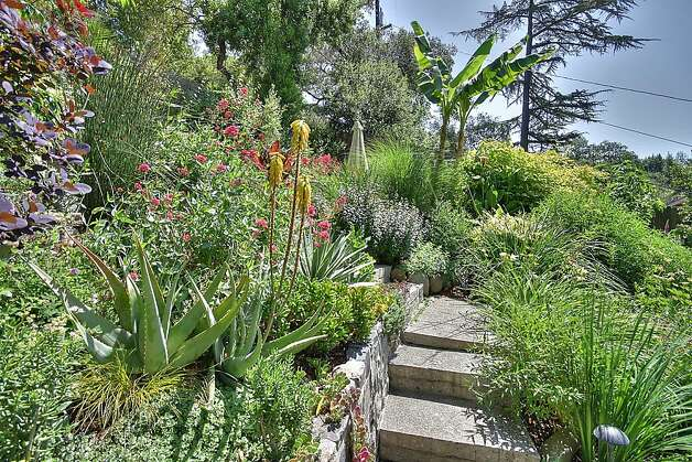 The hillside gardens, courtyards and patios landscaped by the current owner and landscape designer Barbara Huntingdon offer a quiet sanctuary. Photo: Patrice Jerome