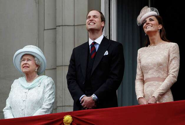 LONDON, UNITED KINGDOM - JUNE 05:  Queen Elizabeth II, Prince William, Duke of Cambridge and Catherine, Duchess of Cambridge on the balcony of Buckingham Palace during the finale of the Queen's Diamond Jubilee celebrations on June 5, 2012 in London, England. For only the second time in its history the UK celebrates the Diamond Jubilee of a monarch. Her Majesty Queen Elizabeth II celebrates the 60th anniversary of her ascension to the throne today with a carriage procession and a service of thanksgiving at St Paul's Cathedral. Photo: WPA Pool, Getty Images / 2012 Getty Images
