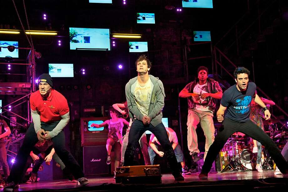 """Scott J. Campbell (Tunny), Van Hughes (Johnny) and Jake Epstein (Will) in """"American Idiot,"""" playing summer 2012 at the Orpheum. Photo: Doug Hamilton"""