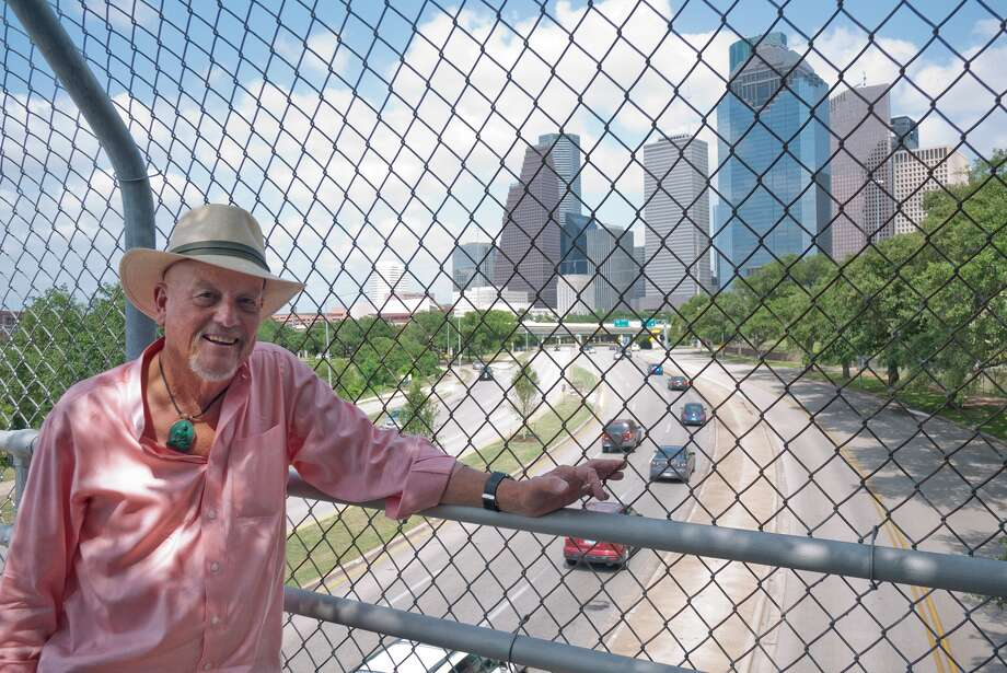 """Marks Hinton, author of """"Historic Houston Streets:  The Stories Behind the Names"""" is shown with Allen Parkway in backgroundPhoto by R. Clayton McKee Photo: R. Clayton McKee / © R. Clayton McKee"""