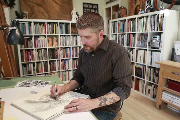 Owen Smith, BART poster artist, sketches in his studio on Thursday, May 24th, 2012 in  Alameda, Calif. Photo: Jill Schneider, The Chronicle