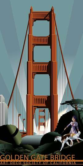 A Golden Gate Bridge commemorative poster done by San Francisco artist John Mattos and available thru the Art Deco Institute of California