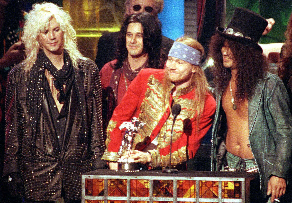 Here, Guns N' Roses receives the Michael Jackson Video Vanguard Award for