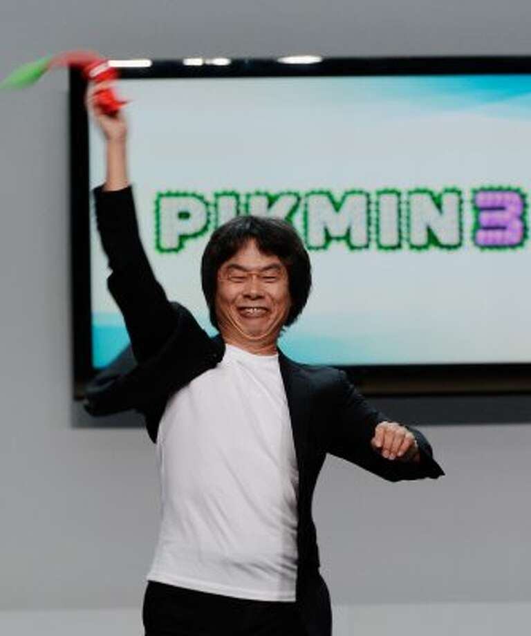 LOS ANGELES, CA - JUNE 05:  Nintendo producer Shigeru Miyamoto, who created Super Mario Bros, holds a Pikmin 3 video game character  during a press conference for Nintendo's new hand held game console Wii U at the Electronic Entertainment Expo at the Galen Center on June 5, 2012 in Los Angeles, California. Thousands are expected to attend the annual three-day convention to see the latest games and announcements from the gaming industry.  (Photo by Kevork Djansezian/Getty Images) (Getty Images)