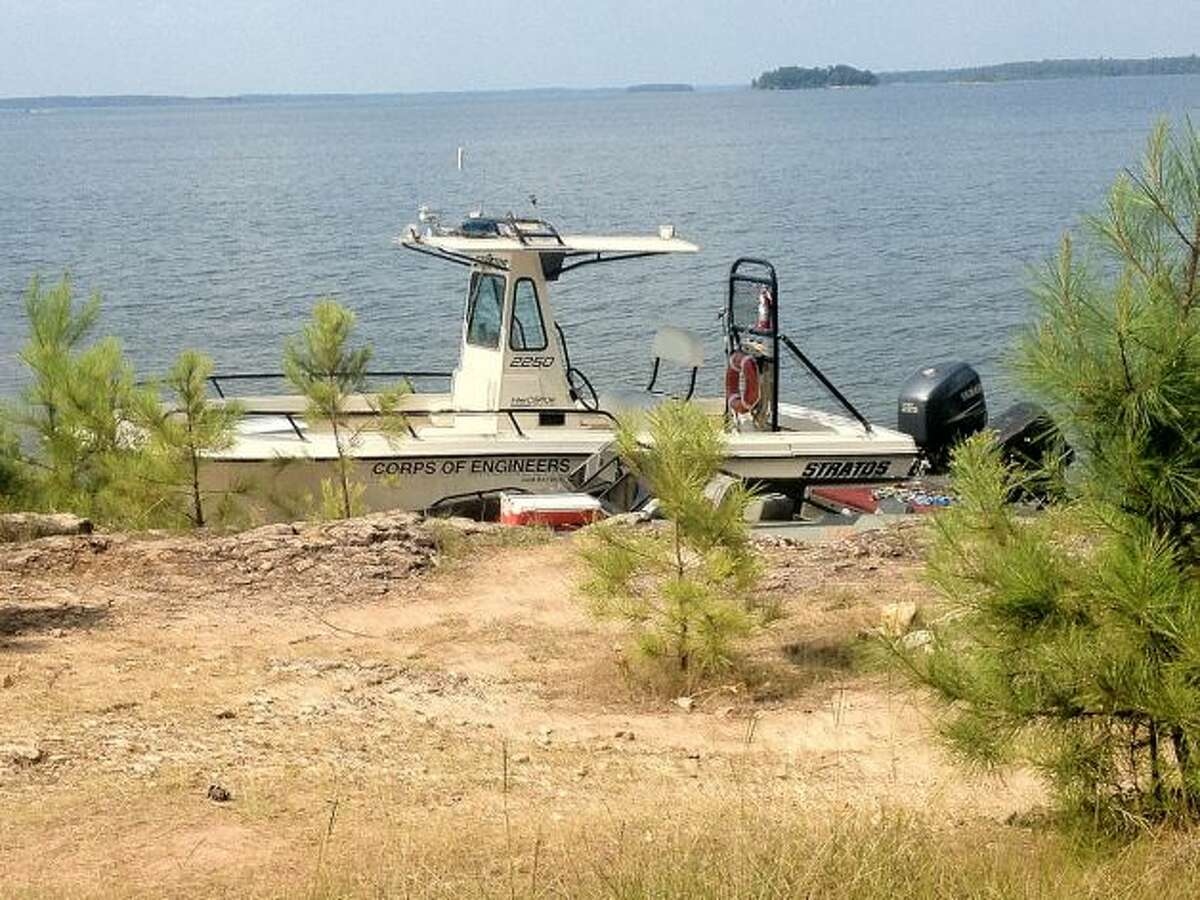 An Army Corps of Engineers team docked their boat after searching for Morgan on Tuesday afternoon to take a break before heading back out.