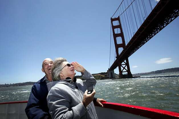 Larry and Barbara Richardson get an up-close view of the Golden Gate bridge in San Francisco, Calif. Tuesday, June 5, 2012.  The Richardsons built a replica of the Golden Gate bridge on their property in Kansas, and traveled to see the real bridge in person. Photo: Sarah Rice, Special To The Chronicle