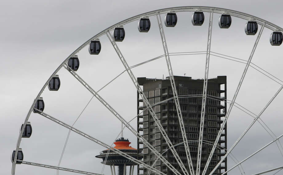 Gondolas on the Seattle 'Great Wheel' are shown on Tuesday, June 5, 2012.  The nearly 175 foot-tall Ferris wheel being constructed at the end of Pier 57 on the Seattle waterfront will begin operation by July 4th. Each car has heating and air conditioning and the wheel can be operated year round. The massive Ferris wheel dramatically changes the Seattle skyline as seen from the water. Photo: JOSHUA TRUJILLO / SEATTLEPI.COM