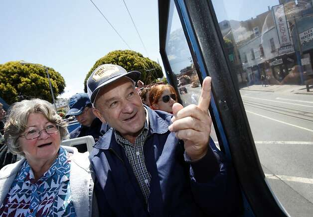 Larry and Barbara Richardson take a double-decker bus tour of San Francisco, Calif. Tuesday, June 5, 2012.  The Richardsons built a replica of the Golden Gate bridge on their property in Kansas, and traveled to see the real bridge up close. Photo: Sarah Rice, Special To The Chronicle