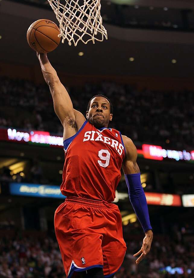 BOSTON, MA - MAY 26:  Andre Iguodala #9 of the Philadelphia 76ers drives to the basket against the Boston Celtics in Game Seven of the Eastern Conference Semifinals during the 2012 NBA Playoffs on May 26, 2012 at TD Garden in Boston, Massachusetts. NOTE TO USER: User expressly acknowledges and agrees that, by downloading and or using this photograph, User is consenting to the terms and conditions of the Getty Images License Agreement. The Celtics won 85-75. (Photo by Jim Rogash/Getty Images) Photo: Jim Rogash, Getty Images