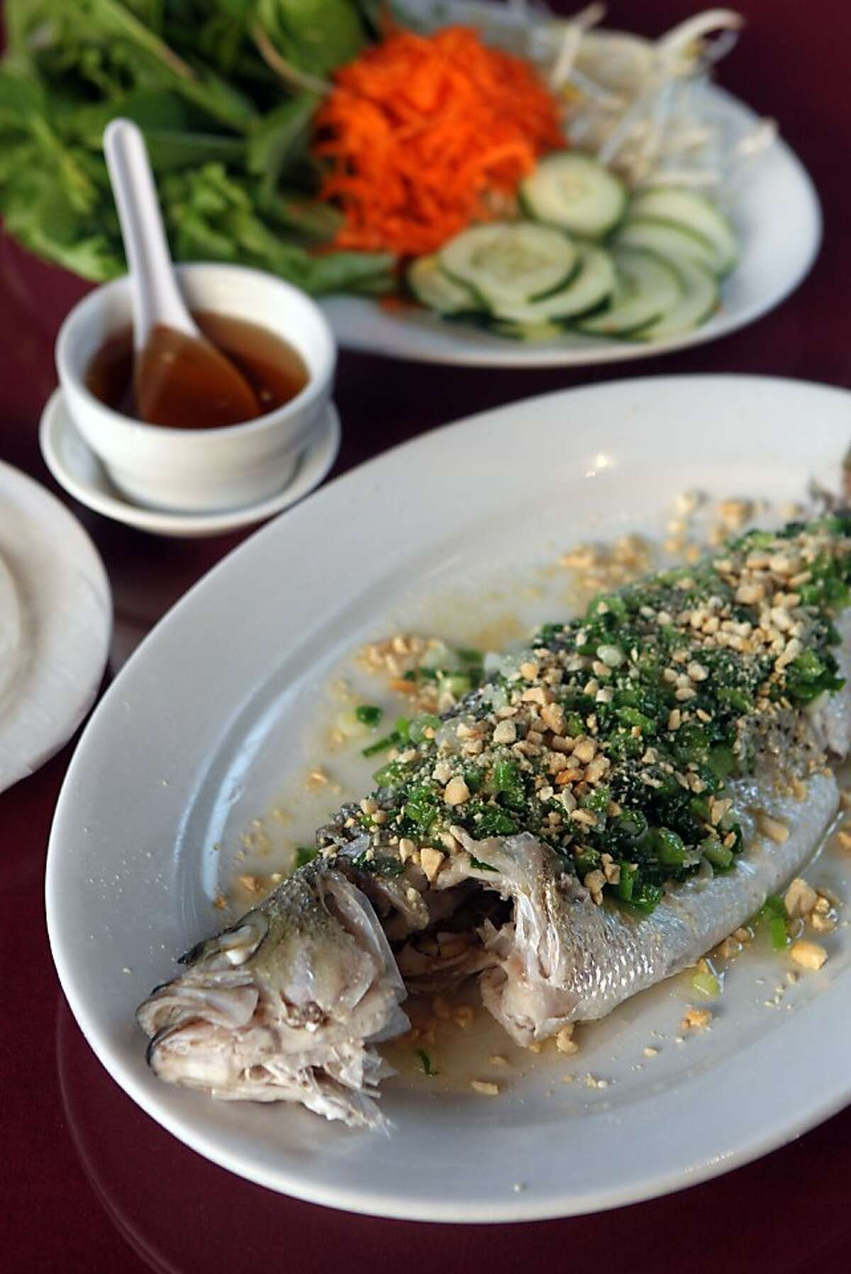 Le Cheval Restaurant in Oakland, offering a verity of Vietnamese authentic dishes including their whole Sea Bass Friday May 31, 2012.
