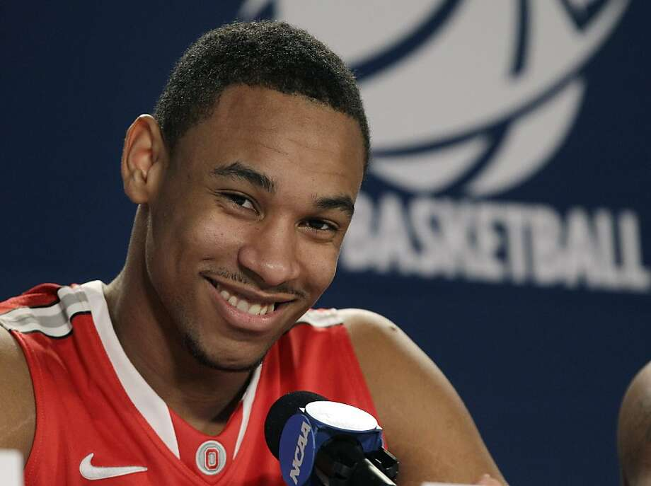 Ohio State's Jared Sullinger smiles at a news conference in Boston, Friday, March 23, 2012. Ohio State will play Syracuse in an NCAA tournament East Regional final college basketball game on Saturday. (AP Photo/Elise Amendola) Photo: Elise Amendola, Associated Press