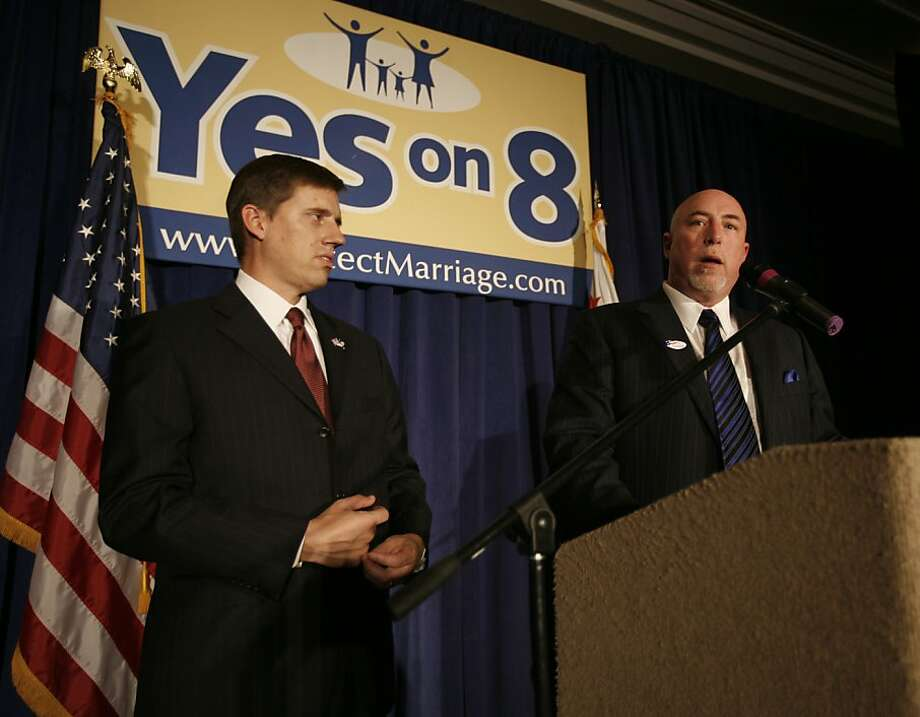 Organizers Jeff Flint, left, and Frank Schubert announce victory as members of Protect Marriage.com-Yes on Proposition 8 gather at the Sacramento Hyatt Hotel in Sacramento, Calif., on Tuesday, Nov. 4, 2008. Photo: Kim Komenich, The Chronicle