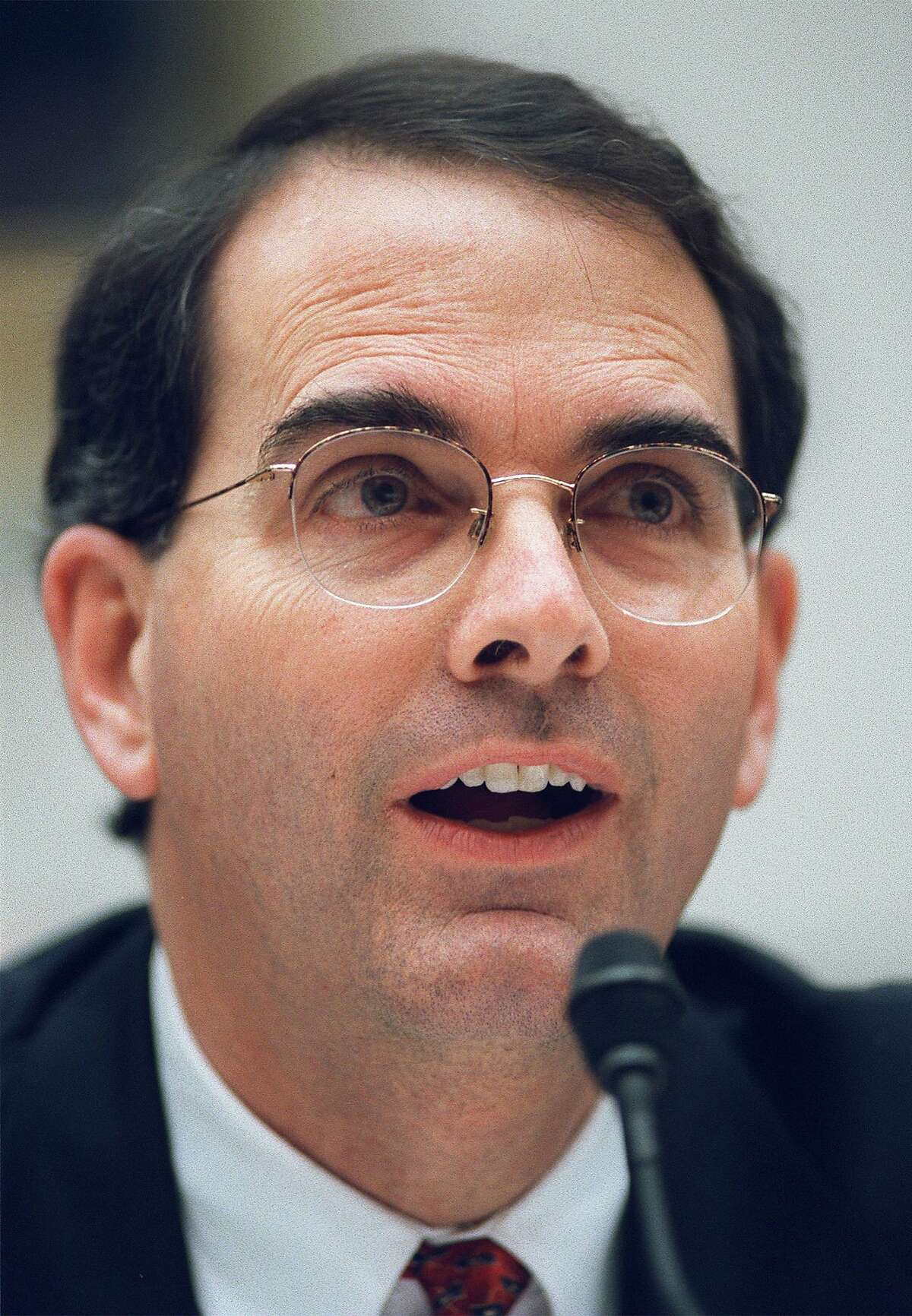 FILE - In this Feb. 14, 2002 file photo, Jay Bybee testifies on Capitol Hill in Washington.