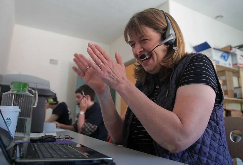 District 13 senate candidate Sally Lieber reacts to a supporter while phone banking on election day in Palo Alto, Calif. on Tuesday, June 5, 2012. Photo: Mathew Sumner, Special To The Chronicle