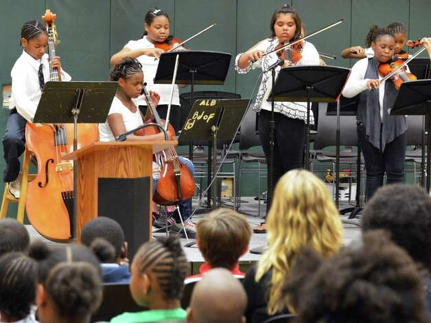 Philip J. Schuyler Achievement Academy orchestra in concert at the school in Albany Tuesday June 5, 2012.   $20,000 worth of musical instruments were donated by Fidelity Investments? new Albany Investor following the performance.   (John Carl D'Annibale / Times Union) Photo: John Carl D'Annibale / 00017720B